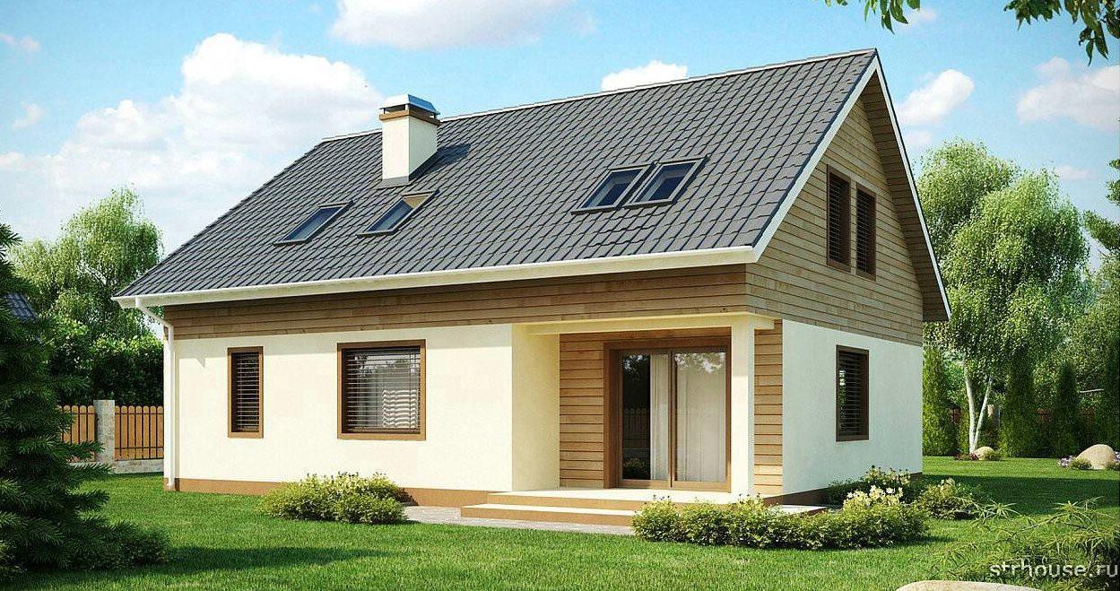 Дом с двухскатной мансардной крышей