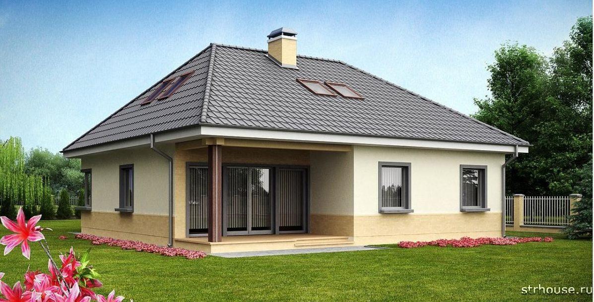 Дом с вальмовой мансардной крышей