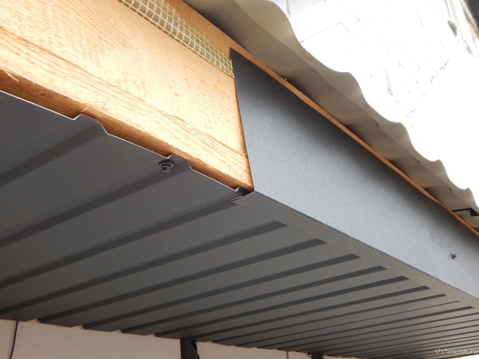 Подшивка карнизов крыши профнастилом
