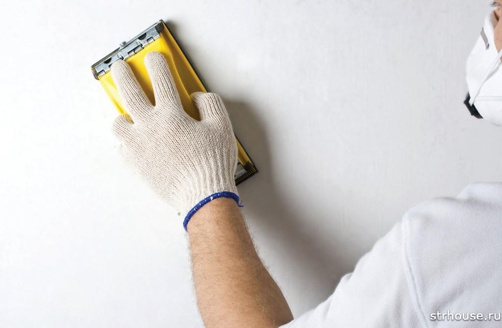 Шлифование стены перед покраской