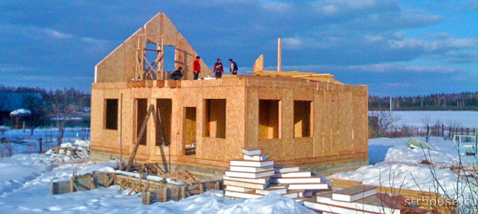 Строительство дома из сип панелей зимой