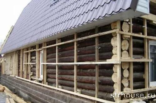 Каркас вентфасада бревенчатого дома