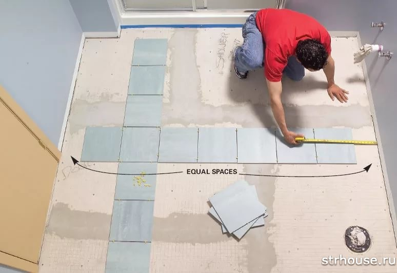 How to lay tile in bathroom floor