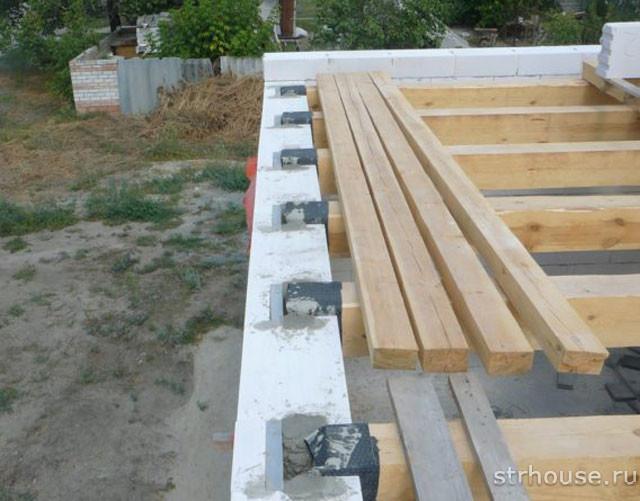Деревянные балки перекрытия в доме из газобетона