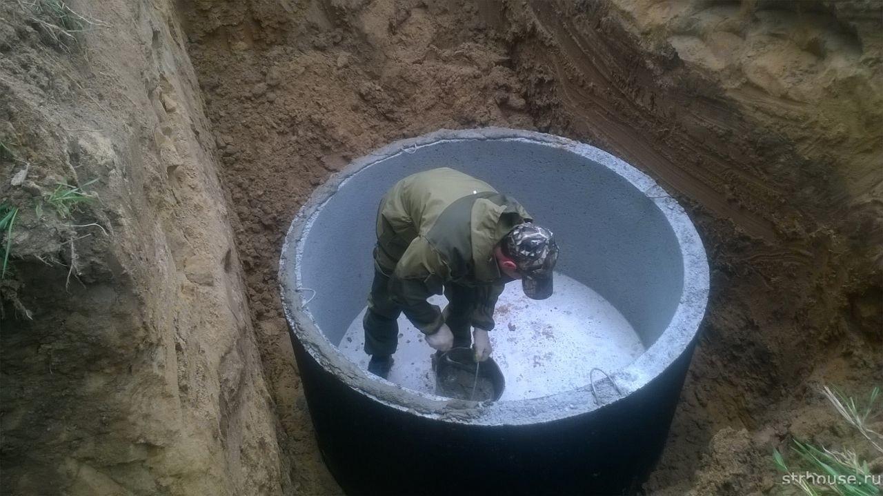 Установка бетонного кольца с днищем